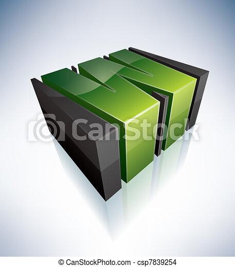 Three-dimensional W Letter - csp7839254