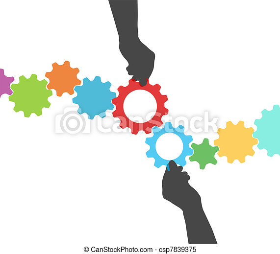 People hands technology gear process management - csp7839375