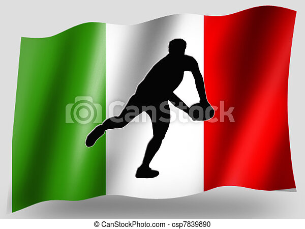 Country Flag Sport Icon Silhouette Italian Rugby Pass - csp7839890
