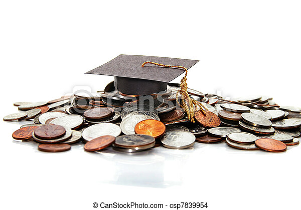 graduation cap  on a pile of money ( student debt ) - csp7839954