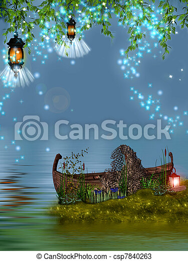 Little boat in magic place. - csp7840263