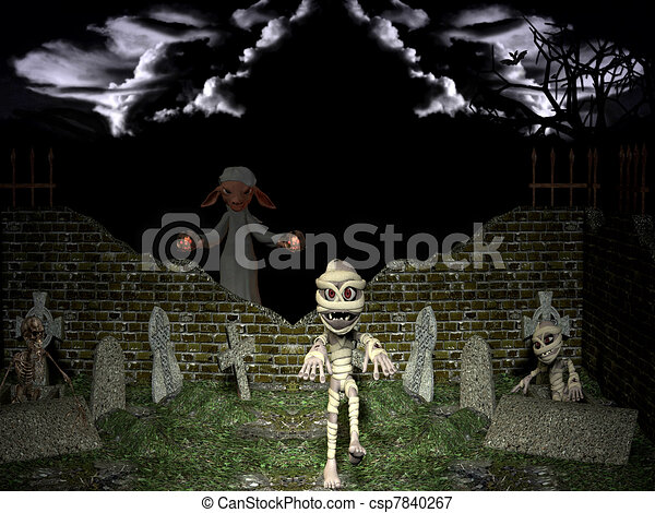 Resurrection of the dead on Halloween night. - csp7840267