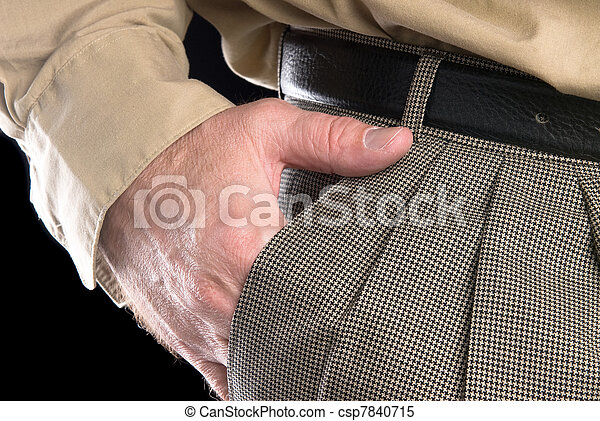 Man with hand in suit pocket - csp7840715