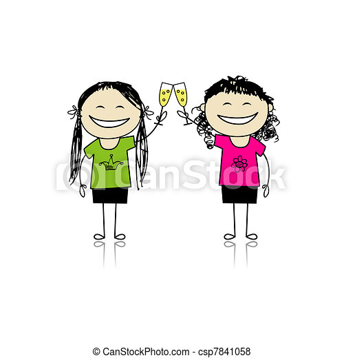 Girls drink wine. Party with friends for your design - csp7841058