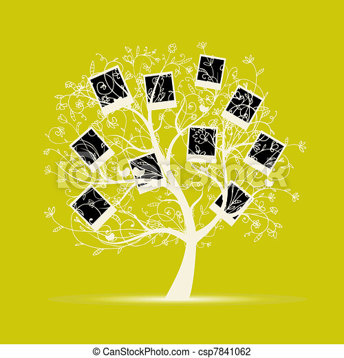 Family tree design, insert your photos into frames - csp7841062
