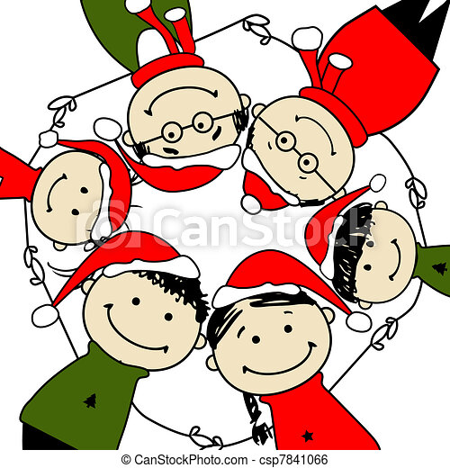 Merry christmas! Happy family illustration for your design - csp7841066