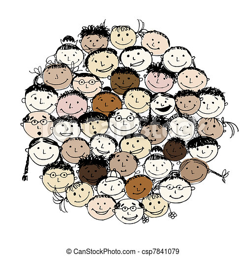 Crowd of funny peoples, sketch for your design - csp7841079