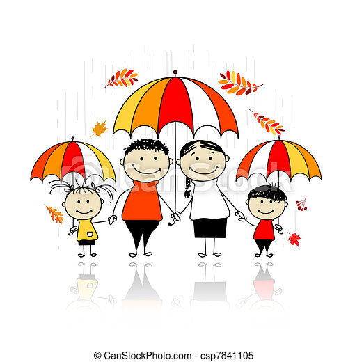 Autumn season. Family with umbrellas for your design - csp7841105