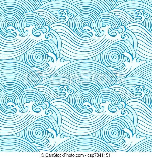 Ocean Line Drawing Pattern in Ocean Colors