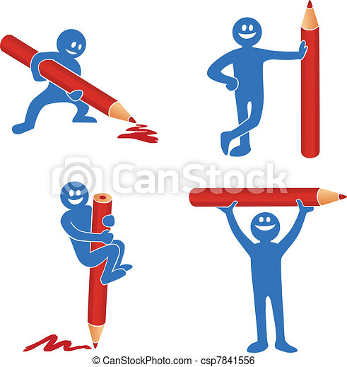Blue stick figure with red pencil - csp7841556