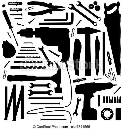 -, 工具, 黑色半面畫像, 插圖,  diiy - csp7841566