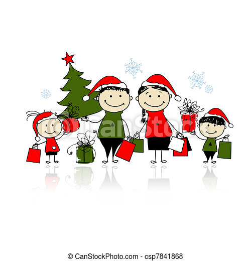 Christmas gifts. Family with shopping bags - csp7841868