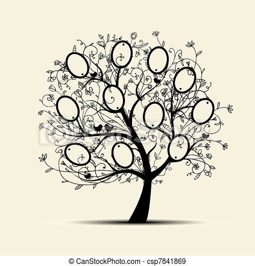 Family tree design, insert your photos into frames - csp7841869
