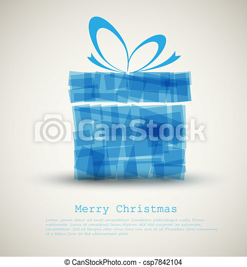Simple Christmas card with a blue gift - csp7842104