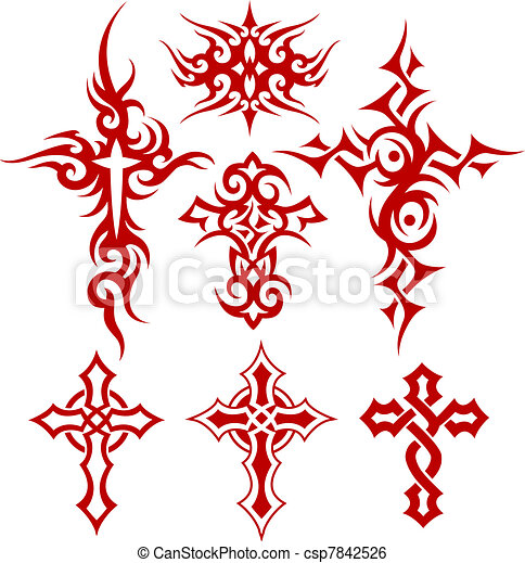 tribal scroll cross symbol - csp7842526
