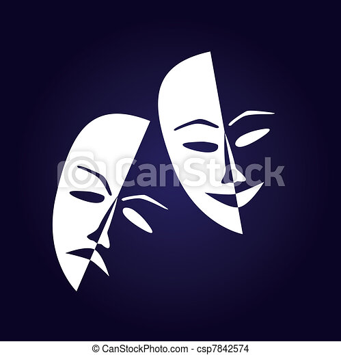 Theatre masks lucky sad on a dark background- illustration - csp7842574