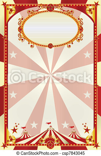 red and cream poster with big top - csp7843045