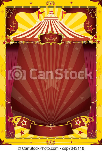 yellow big top circus poster - csp7843118