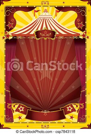 yellow big top circus poster - csp7843118