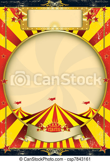Circus vintage red yellow poster - csp7843161