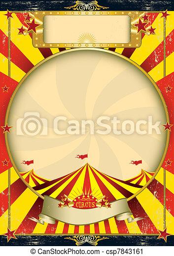 Circus vintage red yellow poster - csp7843161