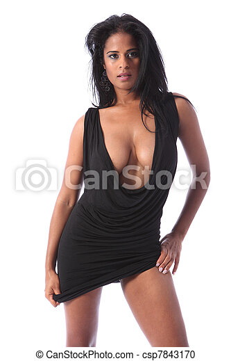 Large cleavage of african american glamour woman - csp7843170