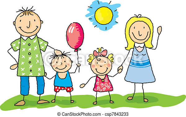 Vectors Of My Family Is Happy Draw Of A Family In The