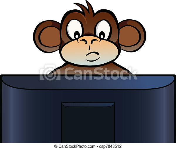 Monkey behind screen - csp7843512
