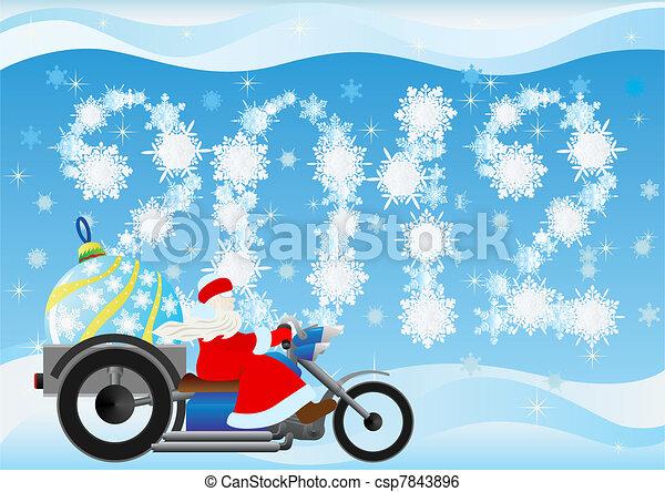 Santa Claus and Christmas tree deco - csp7843896
