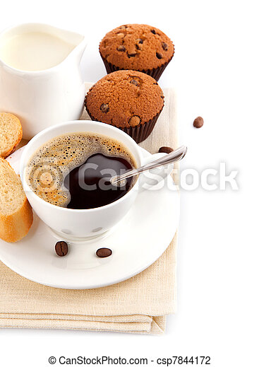 coffee with milk and cake - csp7844172