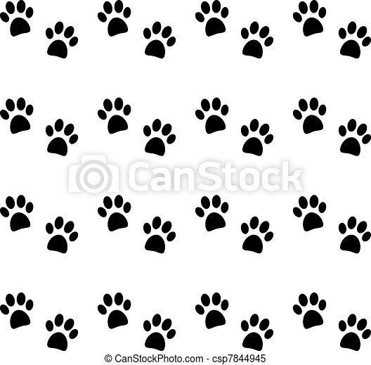 Background with black paw prints  - csp7844945