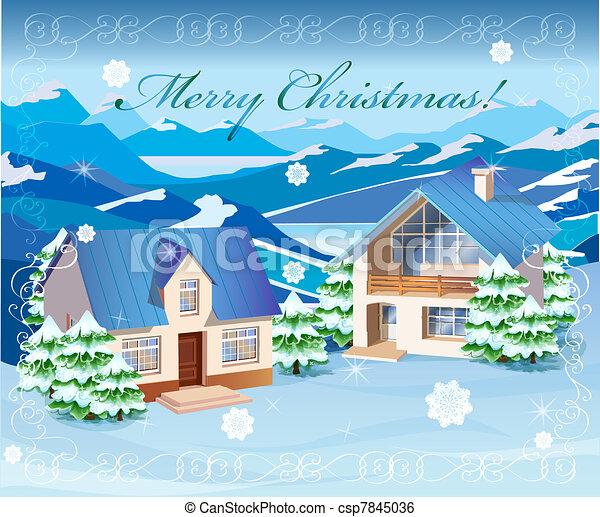 Christmas rural landscape  - csp7845036
