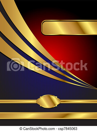 Blue, Red and Gold Modern Vector Background - csp7845063