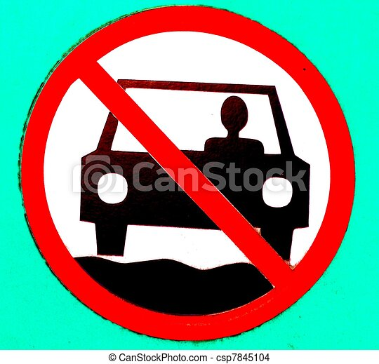 Drawing Of No Motor Vehicles Sign A Stylized No Motor Vehicles Sign Csp7845104 Search Clip
