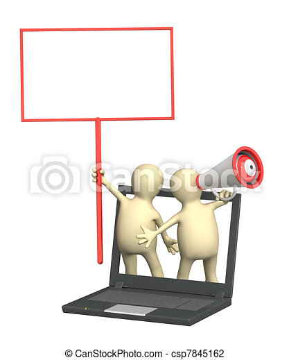 3d puppets with megaphone and signage - csp7845162