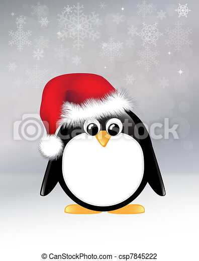 Clip Art of Christmas penguin - Cartoon penguin on snowflake background.... csp7845222 - Search ...