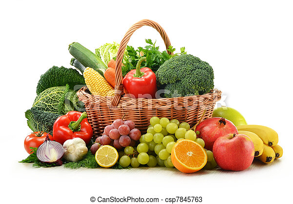 Composition with vegetables and fruits in wicker basket isolated on white - csp7845763
