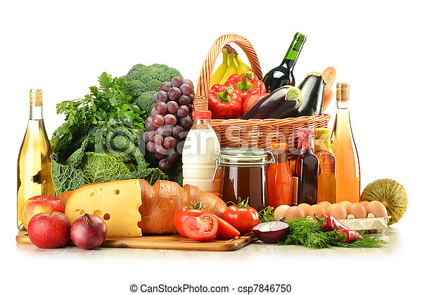 Groceries in wicker basket including vegetables and fruits - csp7846750