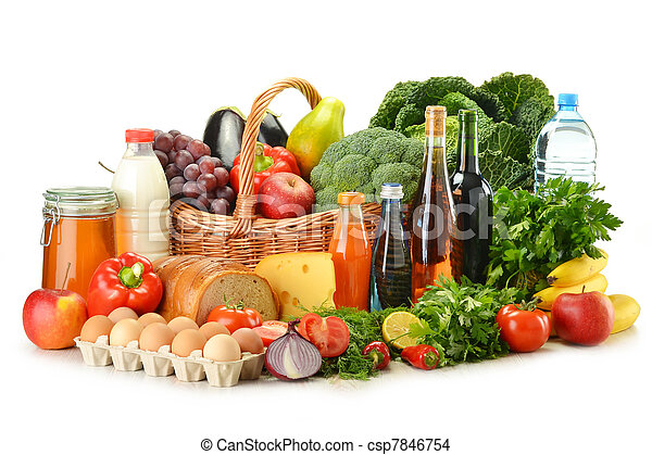 Groceries in wicker basket including vegetables and fruits - csp7846754