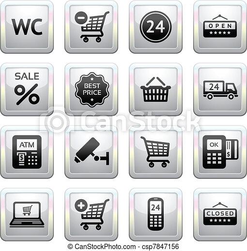 Set pictograms supermarket services - csp7847156