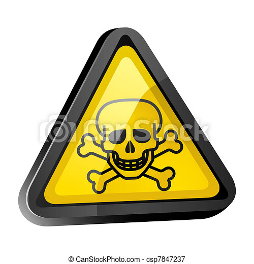 The skull is a warning sign light - csp7847237