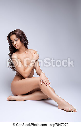 Cute nude girl posing naked for art photography - csp7847279