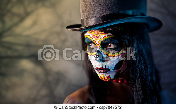 Sugar skull girl in tophat  - csp7847572