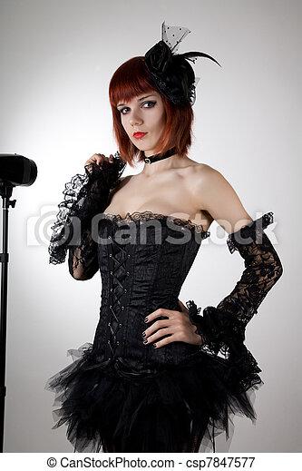 photo s duisant femme noir corset tutu jupe image images photo libre de droits. Black Bedroom Furniture Sets. Home Design Ideas