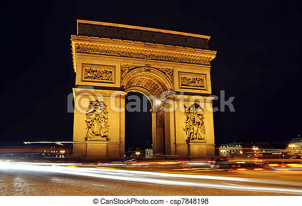 The Arc de Triomphe at night, Paris - csp7848198