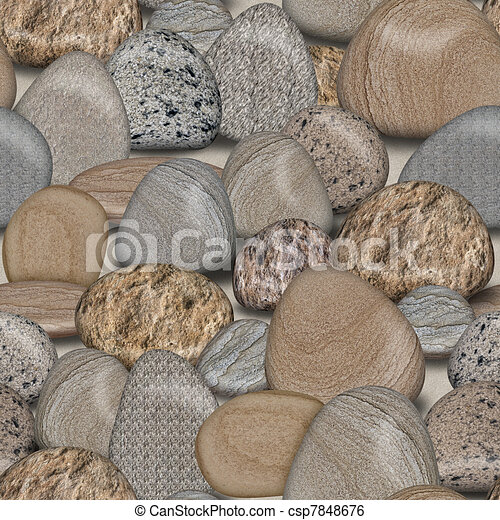 Pebble Rocks Seamless Tile Background - csp7848676
