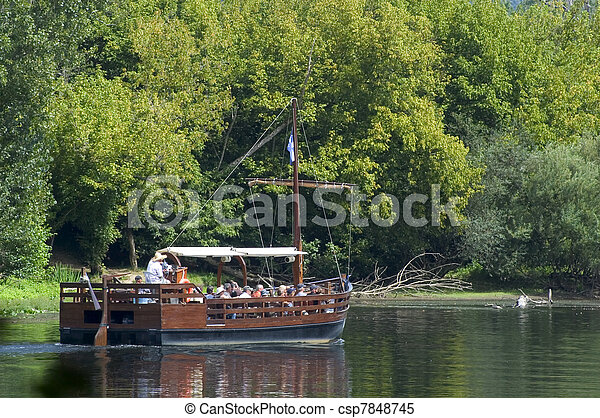 Barge on the Dordogne - csp7848745