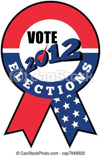 American election USA ribbon tick 2012 - csp7848920