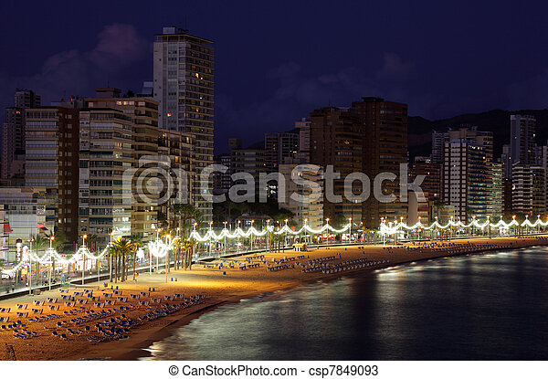 Beach of the Mediterranean resort Benidorm at night, Costa-Blanca, Spain. Photo taken at 20th of October 2011 - csp7849093