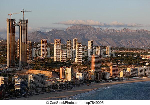 Highrise buildings in the Mediterranean city Benidorm, Spain - csp7849095